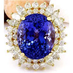 18.75 CTW Natural Tanzanite 14K Solid Yellow Gold Diamond Ring