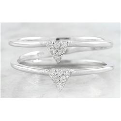 0.12 CTW Diamond 18K Dual Triangle White Gold Ring