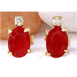 1.76 CTW Natural Ruby 14K Solid Yellow Gold Diamond Stud Earrings