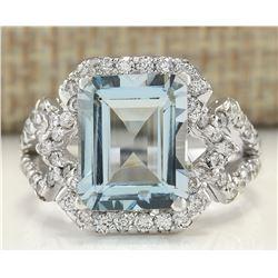 4.26 CTW Natural Aquamarine And Diamond Ring In 14K White Gold
