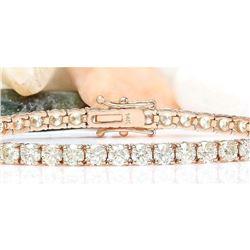 8.08 CTW Natural Diamond 18K Solid Rose Gold Bracelet