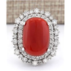 10.22 CTW Natural Coral And Diamond Ring In 18K White Gold