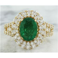 4.65 CTW Emerald 18K Yellow Gold Diamond Ring