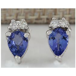 0.88 CTW Natural Blue Tanzanite And Diamond Earrings 14K Solid White Gold