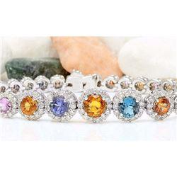10.79 CTW Natural Sapphire 14K Solid White Gold Diamond Bracelet