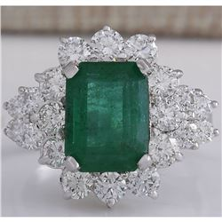 4.58 CTW Natural Emerald And Diamond Ring 14K Solid White Gold