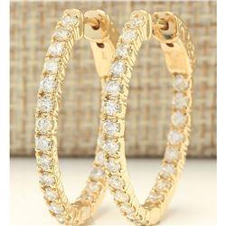 2.00 CTW Natural Diamond Hoop Earrings 18K Solid Yellow Gold
