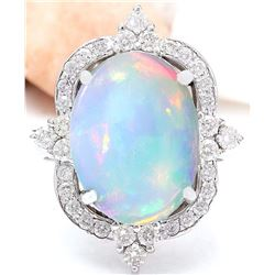 6.26 CTW Natural Opal 18K Solid White Gold Diamond Ring