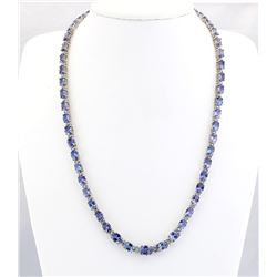 43.50 CTW Natural Tanzanite And Diamond Necklace In 14k White Gold
