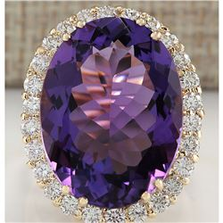 16.86 CTW Natural Amethyst And Diamond Ring In 18K Yellow Gold
