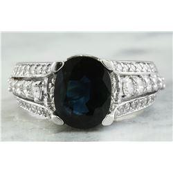 4.46 CTW Sapphire 18K White Gold Diamond Ring