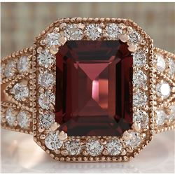 3.89 CTW Natural Pink Tourmaline And Diamond Ring 18K Solid Rose Gold