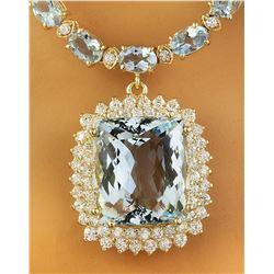 43.88 CTW Aquamarine 14K Yellow Gold Diamond Necklace