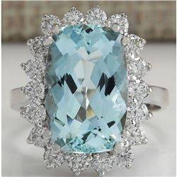 7.00 CTW Natural Aquamarine And Diamond Ring In 18K Solid White Gold
