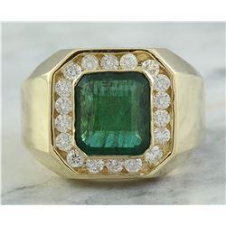 4.26 CTW Mens Emerald 14K Yellow Gold Diamond Ring