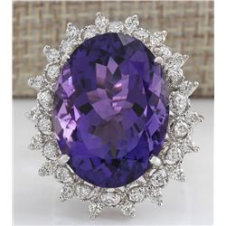 19.80 CTW Natural Amethyst And Diamond Ring In 18K Solid White Gold