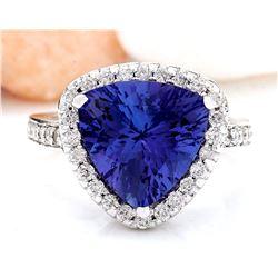 6.90 CTW Natural Tanzanite 14K Solid White Gold Diamond Ring