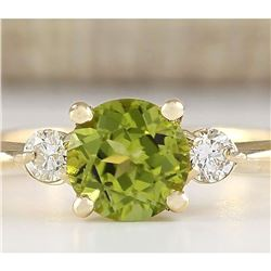 1.40 CTW Natural Peridot And Diamond Ring In 14k White Gold