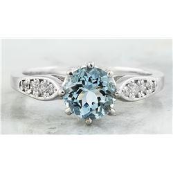 1.27 CTW Aquamarine 18K White Gold Diamond Ring