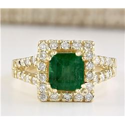 2.73 CTW Natural Emerald And Diamond Ring In 14k Yellow Gold