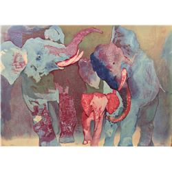 "Edwin Salomon- Original Serigraph ""Elephant Family"""