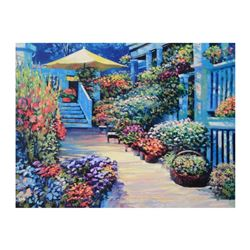 "Howard Behrens (1933-2014), ""Nantucket Flower Market"" Limited Edition on Canvas, Numbered and Signed"