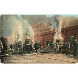 Antique / Vintage Postcard Fire Department Louisville