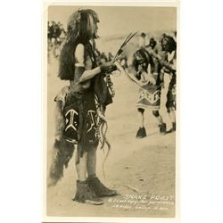 Antique / Vintage Real Photo PC Snake Priest Indian