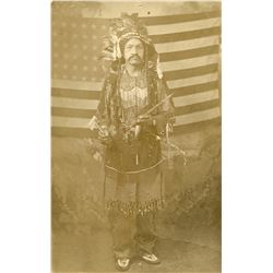 Antique / Vintage Real Photo PC Indian American Flag