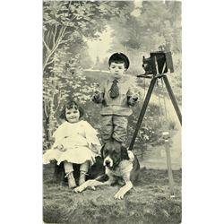 Antique / Vintage Postcard Photo Camera Kids Dog