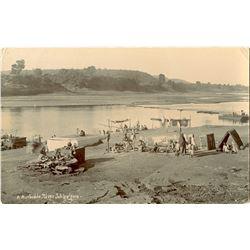Antique / Vintage Rare Postcard India Natives River
