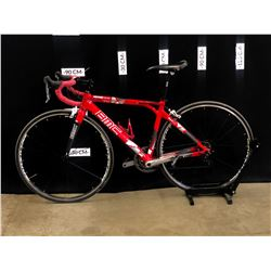 RED BMC STREETRACER SR02 18 SPEED ROAD BIKE WITH HYBRID CLIP PEDALS, FRONT DERAILLEUR CABLE BROKEN,