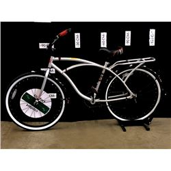 GREY CLASSIC CRUISER BIKE, SINGLE SPEED PEDAL BRAKES, 80 CM STANDOVER HEIGHT