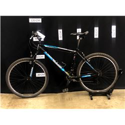 "BLACK DIADORA ORBITA 18 SPEED FRONT SUSPENSION TRAIL BIKE, 18"" FRAME SIZE, 80 CM STANDOVER HEIGHT"