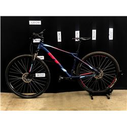 PURPLE AND RED GT AGGRESSOR SPORT 21 SPEED FRONT SUSPENSION MOUNTAIN BIKE WITH FRONT AND REAR DISC