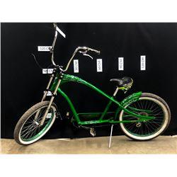 GREEN ELECTRA CHOPPER STYLE 7 SPEED BIKE, MISSING BRAKES, NEEDS REPAIRS/MAINTENANCE