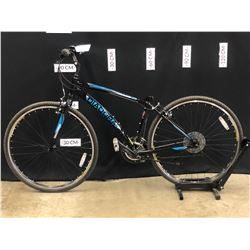 BLACK DIADORA MODENA 21 SPEED HYBRID TRAIL BIKE, MISSING SEAT, 77 CM STANDOVER HEIGHT