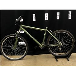 GREEN NORCO PINNACLE 21 SPEED FRONT SUSPENSION MOUNTAIN BIKE, MISSING SEAT, NEEDS SOME MAINTENANCE,