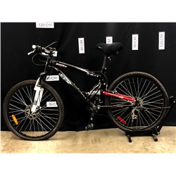 BLACK CCM STATIC DUAL XC 18 SPEED FULL SUSPENSION TRAIL BIKE WITH FRONT DISC BRAKE, BRAKES/GEARS