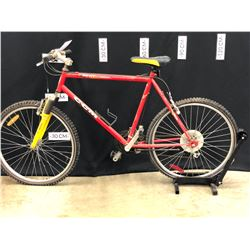 "RED CCM HEAT 21 SPEED FRONT SUSPENSION TRAIL BIKE, 22"" FRAME SIZE, 82 CM STANDOVER HEIGHT, WORKING"