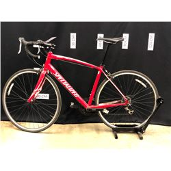 RED SPECIALIZED SECTEUR 16 SPEED ROAD BIKE WITH CLIP PEDALS, LARGE FRAME SIZE, 80 CM STANDOVER