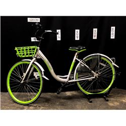 GREEN AND GREY U-BICYCLE 3 SPEED CRUISER BIKE WITH FRONT BASKET, ELECTRONICALLY CONTROLLED LOCKING