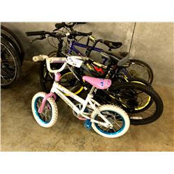 LOT OF 4 ASSORTED PARTS ONLY/POOR CONDITION KIDS BIKES, VARYING CONDITIONS, VARYING BRANDS