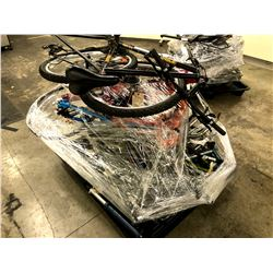 PALLET OF ASSORTED BIKE PARTS INC. FRAMES, FORKS, WHEELS AND MORE, VARIOUS CONDITIONS AND BRANDS