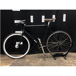 BLACK NO NAME SINGLE SPEED FIXED GEAR ROAD BIKE, STANDOVER HEIGHT 84 CM