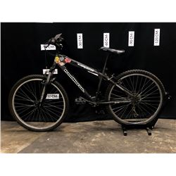 BLACK IRONHORSE SONIC 21 SPEED FRONT SUSPENSION MOUNTAIN BIKE, BRAKES NEED MAINTENANCE,