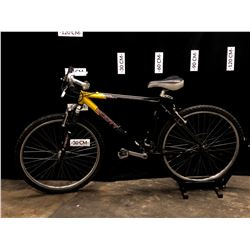 BLACK AND YELLOW SCOTT YECORA, 21 SPEED FRONT SUSPENSION MOUNTAIN BIKE, 75 CM STANDOVER HEIGHT