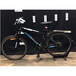 "BLACK DIADORA 18 SPEED FRONT SUSPENSION MOUNTAIN BIKE, 16"" FRAME SIZE, 75 CM STANDOVER HEIGHT"