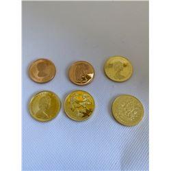 6- 1/2 OZ  $100 GOLD COINS