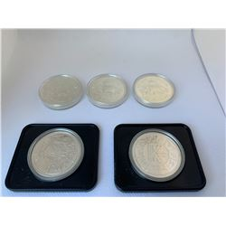 FIVE CANADIAN SILVER DOLLARS